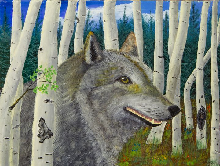 Wolf in the Aspen - Schaper's Gallery