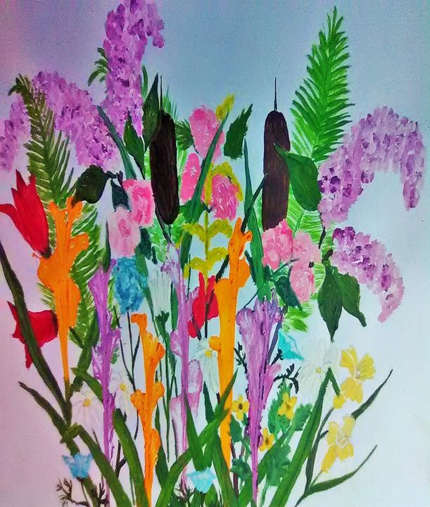 flowers and cattails - ART