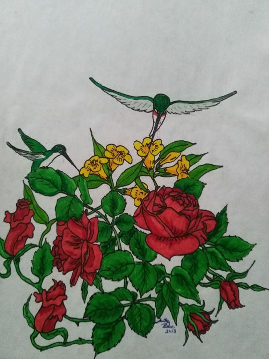 Hummingbird Rose - ART