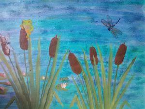 On a ponds edge