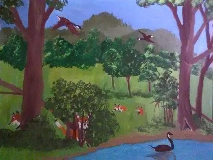 Fox on a ponds edge - ART