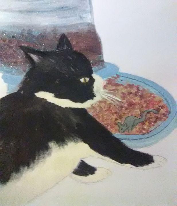 ? Breakfast for kitty - ART