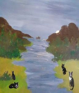 Cats at the river