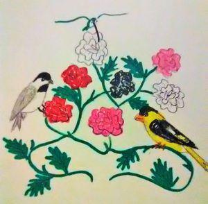 chickadee,hummingbird and a goldfinc