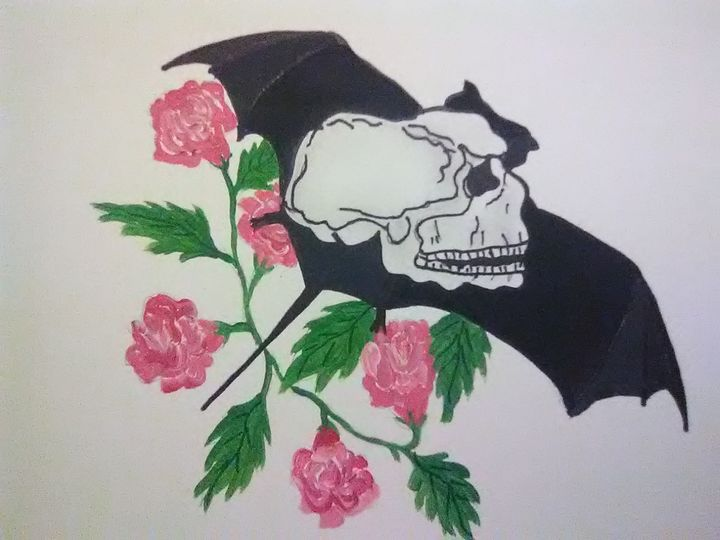 Bat,Skull n Flowers - ART