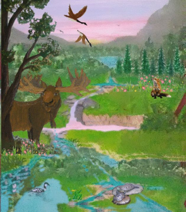 animals at the river - ART