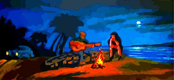 Beach Romance - Funky Fine Art