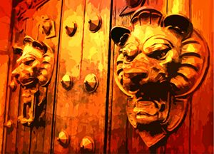 Lion Heads on European Door