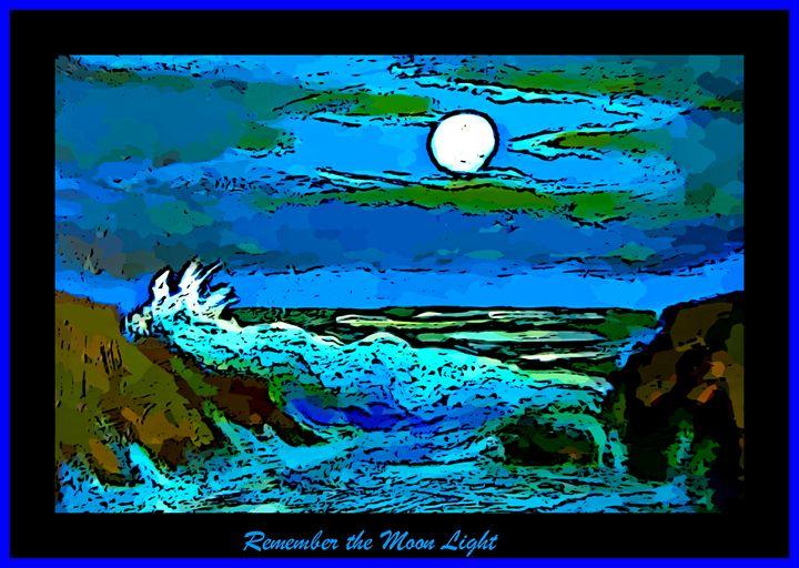 Moonlit Seascape Poster - Funky Fine Art