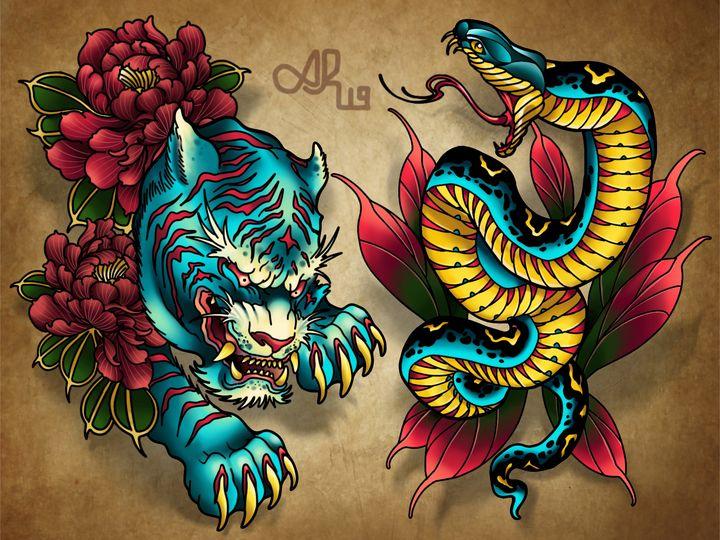 Tiger and Snake - Alex Reid Art