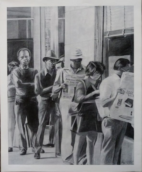 People standing in unemployment line - Pencil Art by Ron Caraway