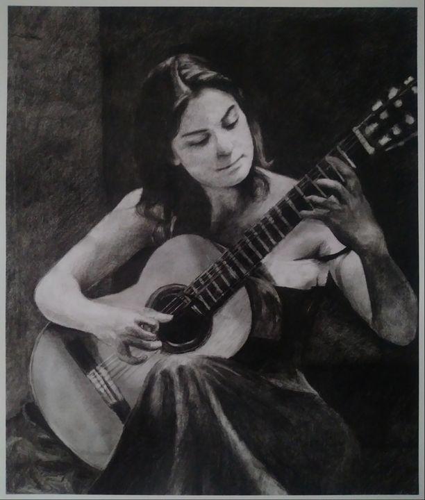 Women playing Spanish guitar - Pencil Art by Ron Caraway