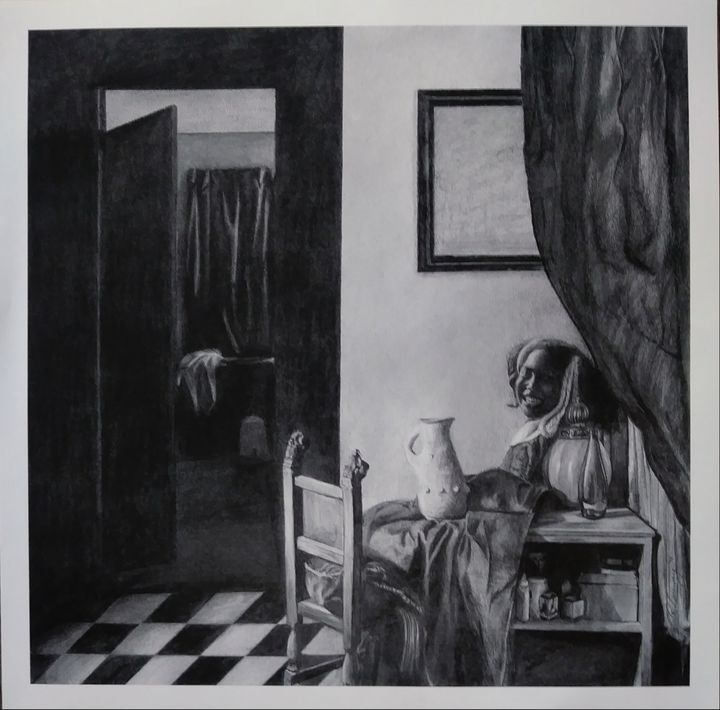 Girl in a room - Pencil Art by Ron Caraway