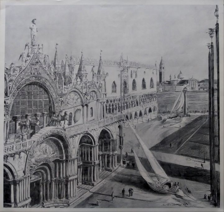Short-cut through St. Marks Square - Pencil Art by Ron Caraway