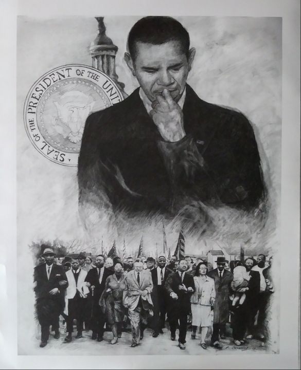 Obama reflecting on the past - Pencil Art by Ron Caraway