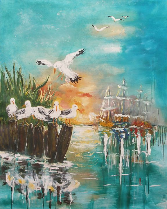 seagull at rest - art paintings by miroslaw chelchowski