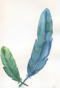 Two feathers blue