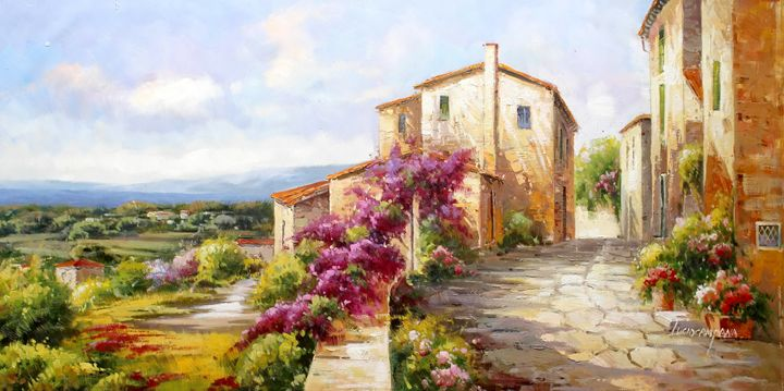 Tuscany Villages in Flower Field - Lucio Campana