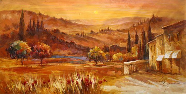 Tuscany Village Golden Wheatfield II - Lucio Campana
