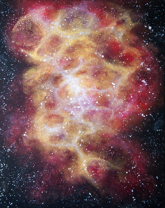 Gold and maroon space-scape - chelseawellsart