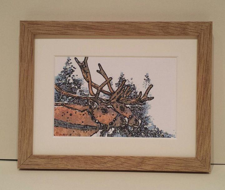 Two Reindeer's In Snow - artbyhew