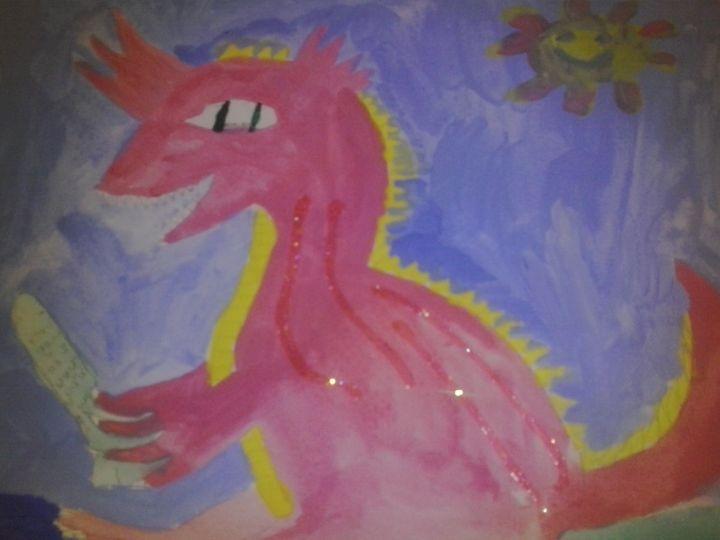 baby girl dragon enjoying the sun - Erica's Art