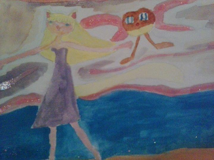 different girl running on the beach - Erica's Art