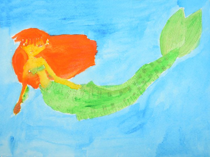 orange haired mermaid - Erica's Art