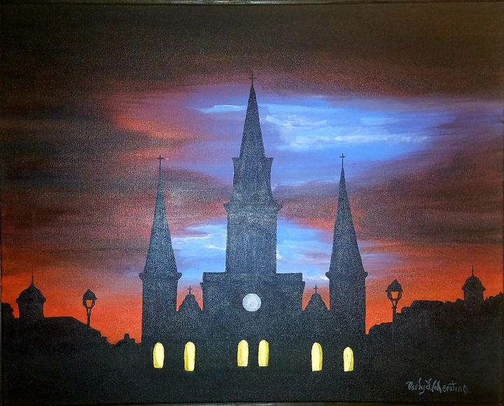 St Louis Cathedral Summer Nights - Rudydvalentino Galleries Cafe
