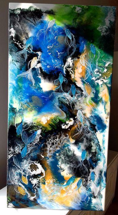 Blue dance,resin original Bissinger - Art Bissinger