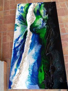 Hill-valley hillside, resin abstract
