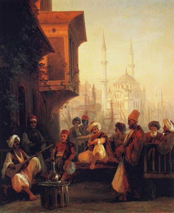 Coffee near the Ortaköy mosque, 1846 - OttomanArchives