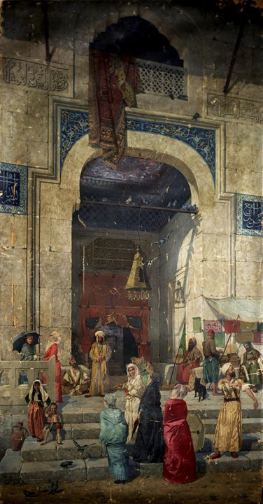 At the entrance to the mosque, 1891. - OttomanArchives