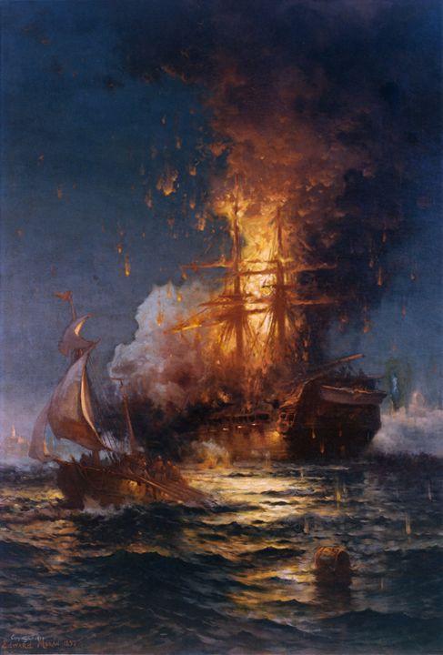 Burning of the USS Philadelphia - OttomanArchives