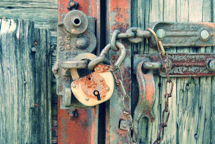 Rustic Old Wood With Rusty Lock - Samantha Black