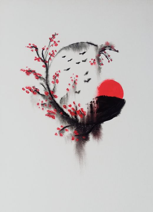 Zen Enso Circle & Sakura Branches - The AM Art Gallery