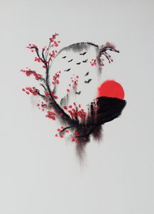 Zen Enso Circle & Sakura Branches