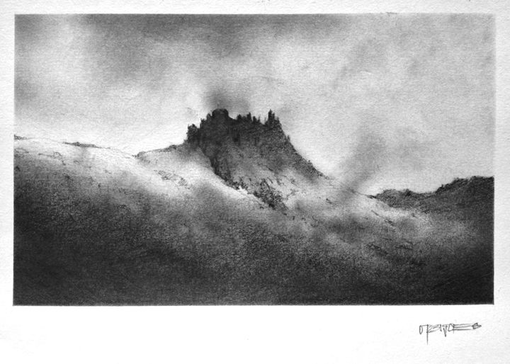 "Lonely Mountain - 5"" by 7"" pencil sketches"