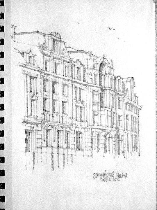 "Prague Architecture - 5"" by 7"" pencil sketches"