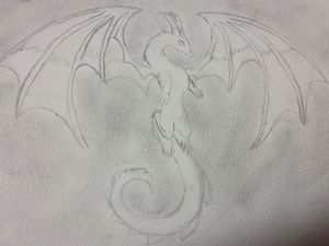 Graphite And Charcoal Dragon Sketch