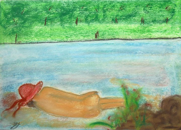 sea scape sleeping women - prakriti art