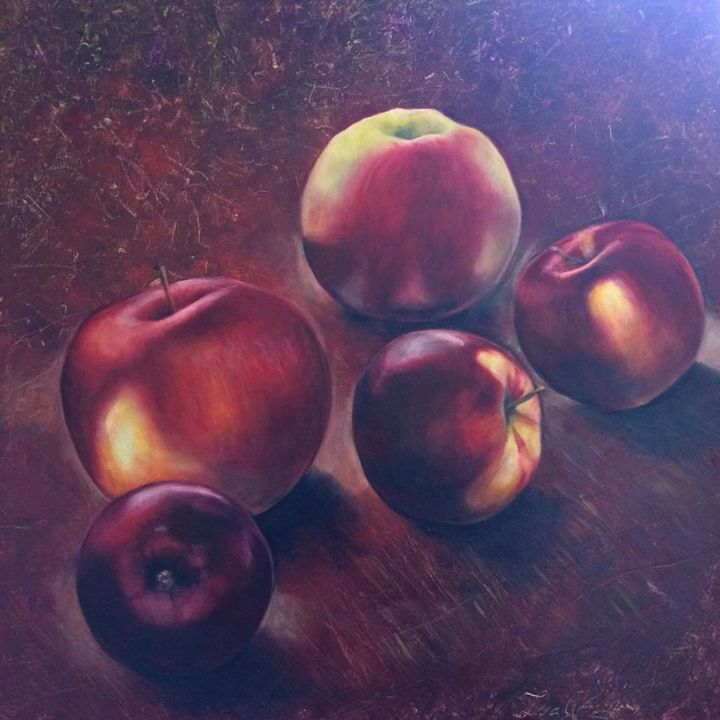 red apples on red - Iva Cherry