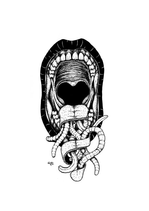 open mouth, tongue and worms - erto arts