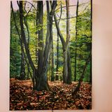 oil painting of a forest in autumn.