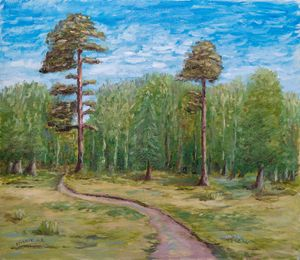 Oil painting — Road in the forest