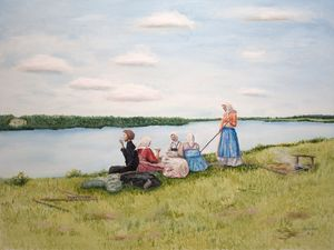 Oil painting - Lunch on the mowing