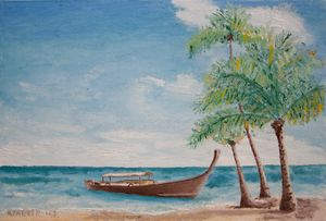 Oil painting - Boat and palms