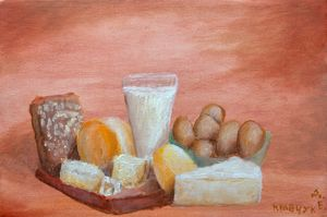 Oilpainting still-life with food