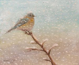 "Oilpainting - ""Bird under the snow"""
