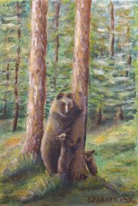 Oilpainting - Bears by the pine